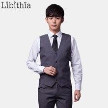 Men Formal Slim Fit Suit Vests Men's Blazer Vests 11 Colors Grey Black Size S-3XL Classic Wedding Waistcoats Male Clothes