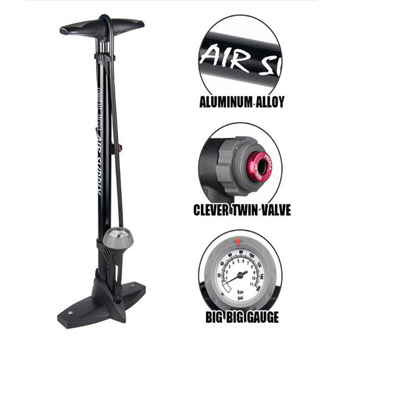 Pompe de plancher de vélo avec jauge Presta Schrader adaptateur de Valve 160Psi pied pompe à vélo gonfleur d'air pompe à pneu route vtt pompe à vélo