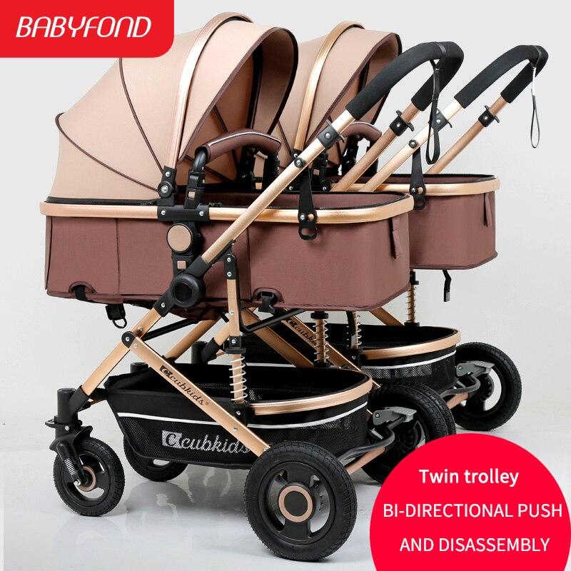 Double bébé amovible sièges peut mentir haute paysage léger facile à plier la poussette