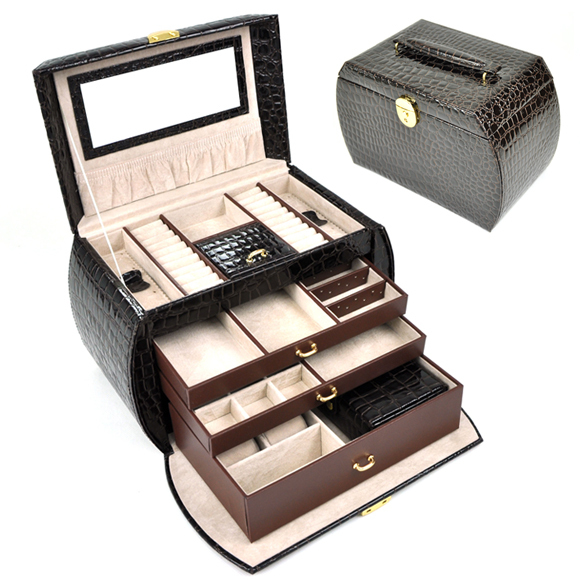 Free Shipping 1PC Ring&necklaces& pendants Gift Jewelry Boxes Cases Display ,Large space Leather gift box brown color 201348Free Shipping 1PC Ring&necklaces& pendants Gift Jewelry Boxes Cases Display ,Large space Leather gift box brown color 201348
