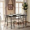 IKayaa 5 UNIDS Marco De Metal Moderno Comedor Sillas Mesa De La Cocina Set para 4 Personas Cocina Muebles 120 kg Capacidad de Carga para el Hogar