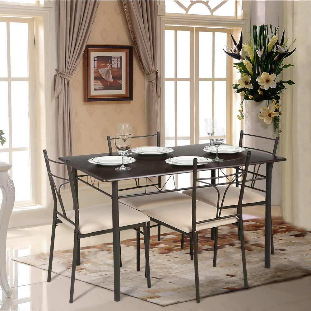 IKayaa 5PCS Modern Metal Frame Dining Kitchen Table Chairs Set For 4 Person Furniture 120kg