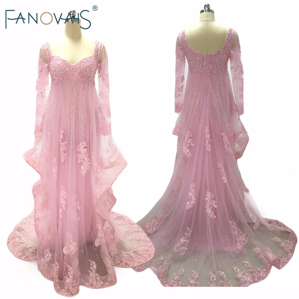 Real Pictures Tulle Sweetheart Sequins Beaded Pink   Evening     Dress   with Long Sleeves Lace Appliques Court Train