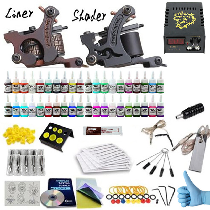 Complete Tattoo Kits 40 Tattoo Inks Set With 1 Liner 1 Shader Tattoo Machine Guns Power Supply Disposable Needle Teaching CD 100pcs disposable tattoo needle and tube 3 4 grip with tip