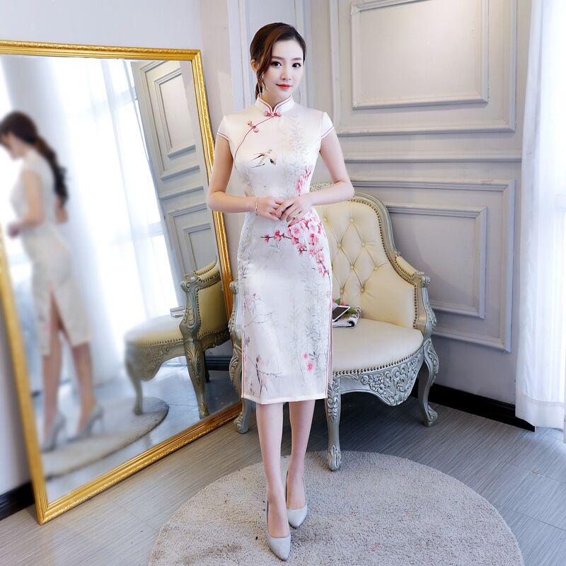 New Arrival Chinese Women's Knee Leng Cheongsam Fashion Short Style Qipao Summer Rayon Dress Vestidos Size M L XL XXL XXXL 72914