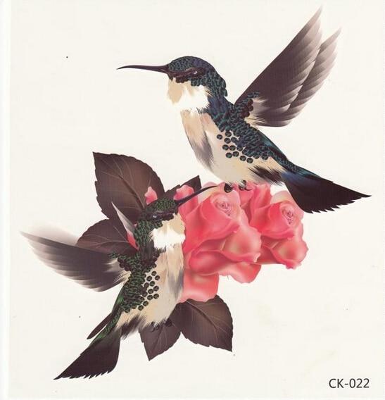 2sheet 3D Bird Rose Flower Leaf 3D tetování Velké ženy tatoo Vodotěsné dočasné tetování Samolepky pro nový make-up Beacuty