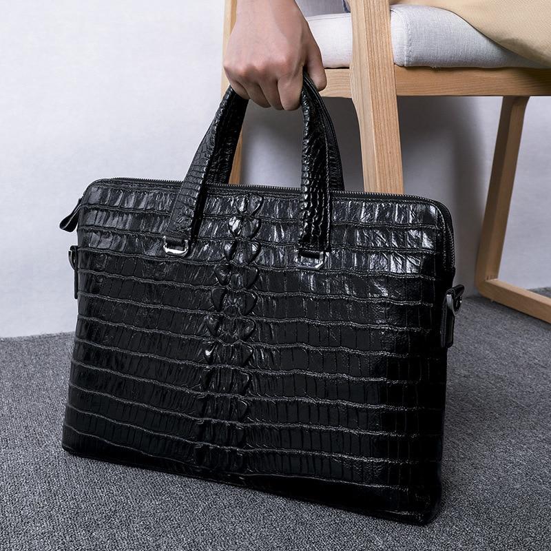 Oferta specjalna luksusowe Alligator wzór prawdziwej skóry mężczyzn torebki na co dzień torba na ramię naturalna skóra bydlęca walizka biznesowa w Teczki od Bagaże i torby na  Grupa 1