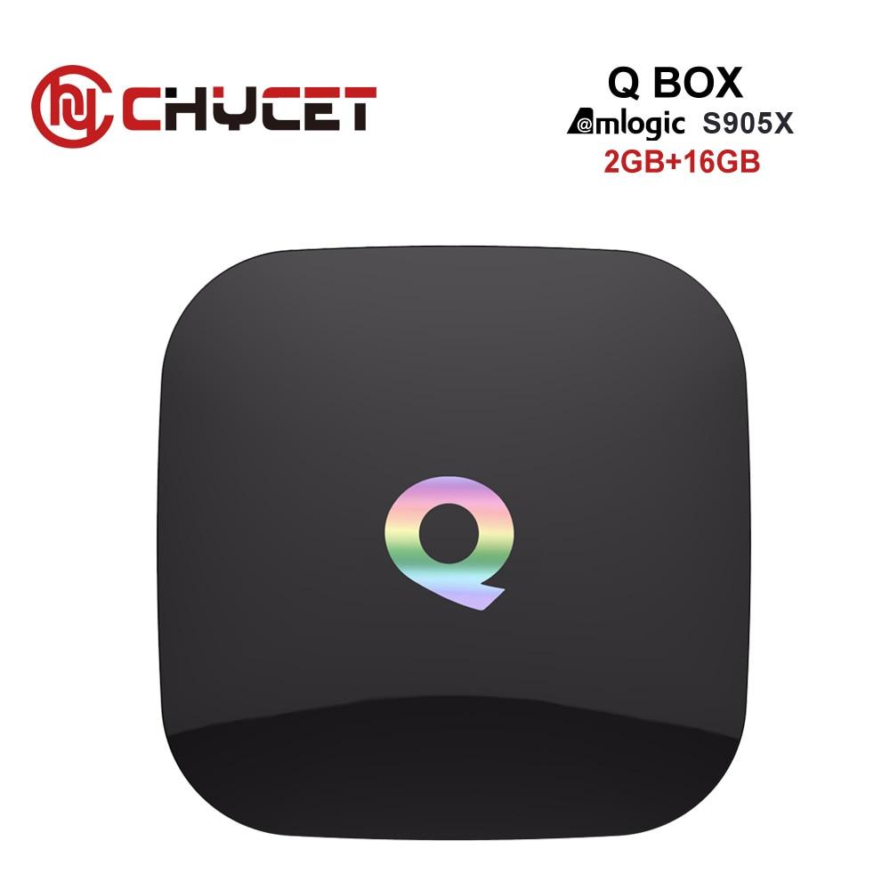 Chycet Q BOX Android 6.0 TV Box S905X Quad Core 4K H.265 Miracast DLNA Wi-Fi Smart tv Media Player Set top box PK X96 H96 pro scishion v88 plus tv box rockchip 3229 quad core android 5 1 wifi h 265 vp9 4k smart set top box media player pk v88 v88 pro x96