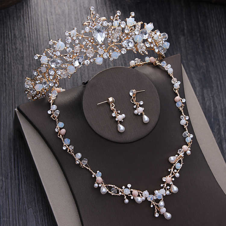Noble Crystal Beads Pearl Bridal Jewelry Sets Gold Rhinestone Diadem Tiaras Necklace Earrings Baroque Crown Wedding Jewelry Set