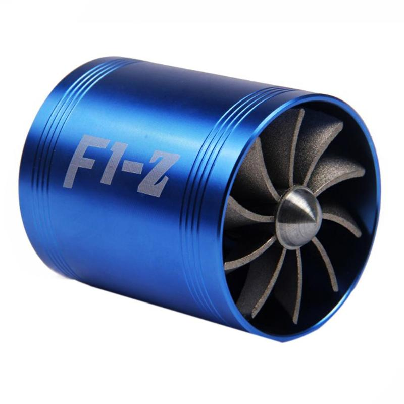 Double Supercharger Car Turbo Air Intake Turbine Gas Fuel Saver Fan Turbine with Single Propeller for 65-74mm Air Intake Hose