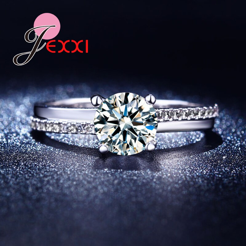 JEXXI New Hot Sale Simple Classic Round Cut Eternity Crystal S90 Silver Women Promise Wedding Rings Size 6 7 8