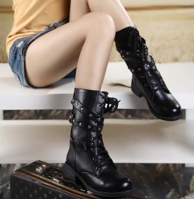 Women Retro Rivets Bandage Lace-up Motorcycle Boots 2015 Fashion Mid-calf Martin Boots Ladies Riding Boots Punk Snow Boots Shoes double buckle cross straps mid calf boots