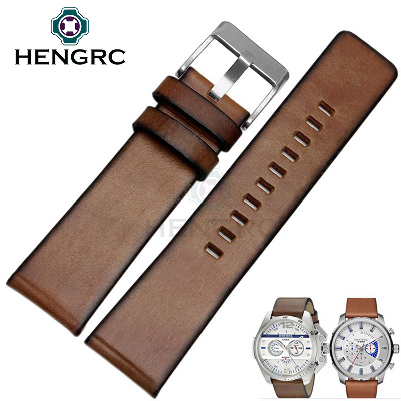HENGRC Retro Watch Band Strap Men Brown 24mm  Retro Genuine Leather Watchbands Steel Stainless Sivler Buckle Accessories hengrc new genuine leather watch bands strap bracelet black brown 18mm 19mm 20mm 21mm 22mm 24mm watchbands accessories