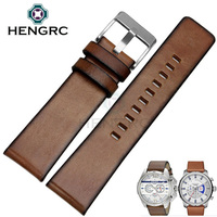 HENGRC Retro Watch Strap Bracelet Men Brown 24mm Retro Genuine Leather Watchbands Steel Stainless Sivler Buckle
