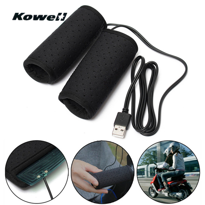 Akozon Motorcycle Handlebar Warmer USB Heated Grips5V Antiskid with Switch Cable for 30-40mm Handle Diameter