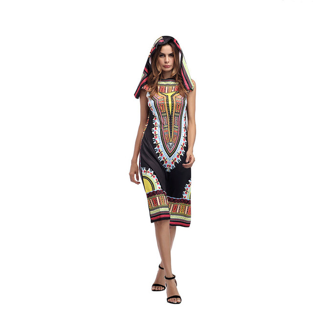 4d02aede516c 2018 New style Indie printing dress Sleeveless Sexy Summer Fashion Women s  Bodycon Hooded Dress Plus Size