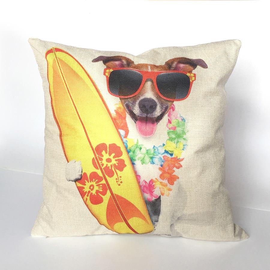 Animal Dog Cushion Cover Pug Pillow Funda Cojin 45x45