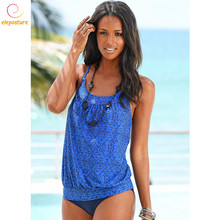 2020 Tankini Swimsuits Women Retro Bikini Set Brazilian Swimsuit Swimwear Vintage Bathing Suits High Waist Tankini Set Beachwear