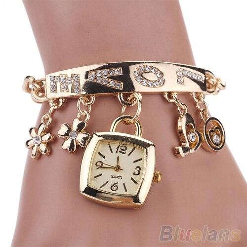 Flower Heart Love Style Rhinestone Stainless Steel Chain Bracelet Wrist Watch Women 2328