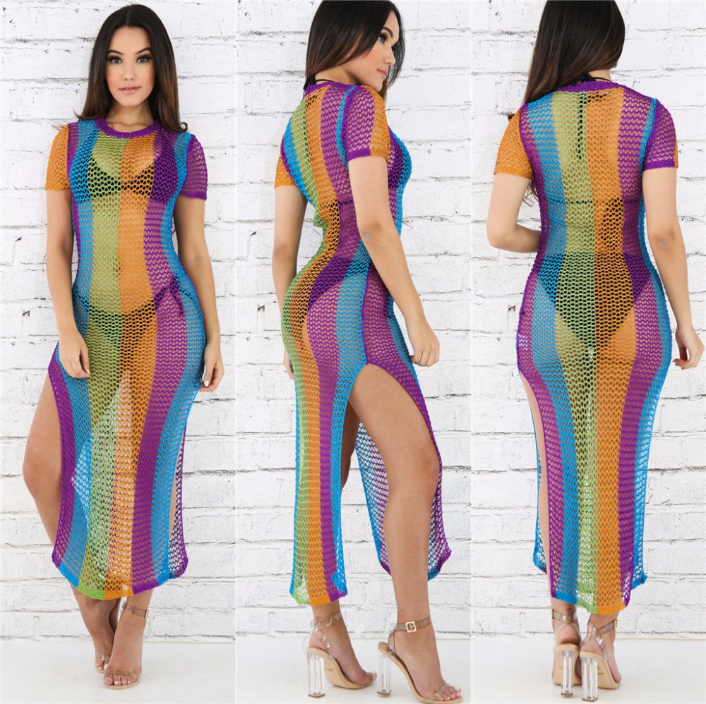 Women Knitted Crochet Long Beach Dresses Summer Short Sleeve Hollow Out Rainbow Print Side Slit Ripped Maxi Bodycon Dresses