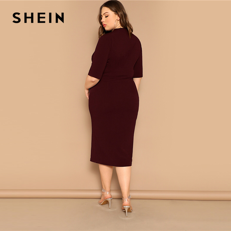 SHEIN Classy Black Plus Size Mock-neck Solid Pencil Slim Dress Women Spring Office Lady Bodycon Basics Plus Size Long Dresses 3