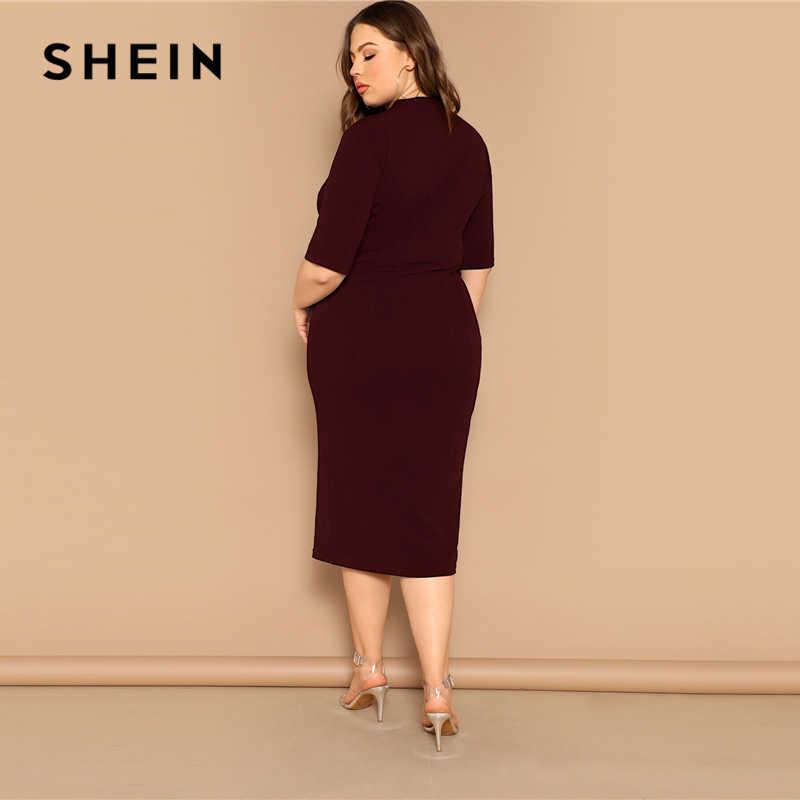 SHEIN eleganckie czarne z połyskiem rozmiar Mock-neck solidna wąska sukienka ołówkowa kobiety wiosna biuro Lady Bodycon podstawy Plus rozmiar długie sukienki