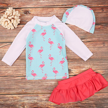 Funfeliz Children Flamingo Swimsuit with Swimming Cap 2-14Y Girls Long Sleeve Swimwear Girl Two Pieces Suit Skirt