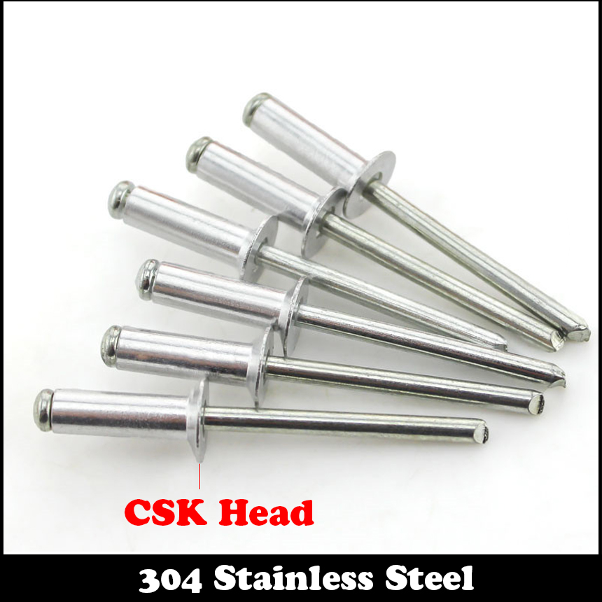 M3.2 M3.2*6.4 M3.2x6.4 304 Stainless Steel 304ss DIN7337 Self-Plugging Pull Nail POP CSK Countersunk Head Flat Head Blind Rivet