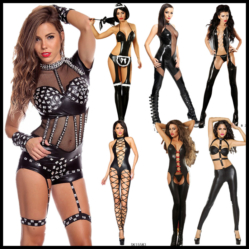 Black Sexy Patent Leather Bodysuit Jazz Pole Dancing Stage Performance Wear For Female Adult Night Ds Singer Dance Costume