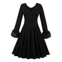 Sisjuly Autumn Black Full Sleeve Vintage Dress Knee Length Party Dress O Neck Fall Zipper Pleated
