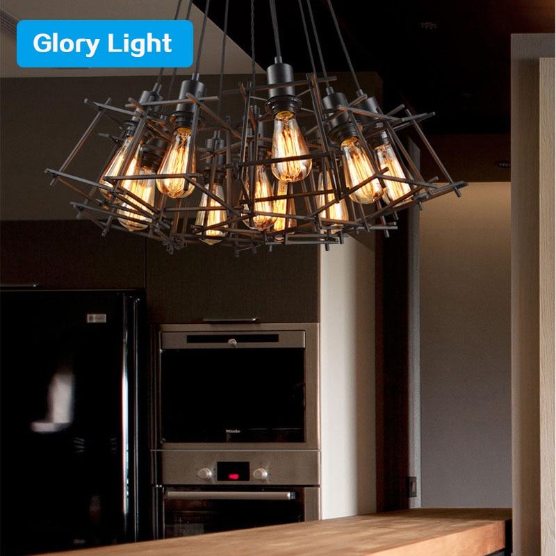ФОТО Glory Light Creative Personality Retro Pendant Lights Industrial Loft Restaurant Bar American Country Iron Pendant Lamp E27 base