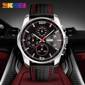 Image 5 - SKMEI Fashion Sport Mens Watches Top Brand Luxury Leather Strap 5Bar Waterproof Quartz Wristwatches Relogio Masculino 9106