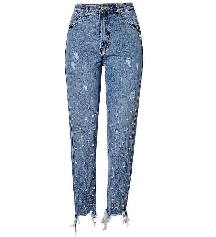 a9e2b247f8f ... 2019 Summer Ladies Mom High Waist Vintage Jeans Woman Denim Sequins  Boyfriend Jeans Pants Female Ripped ...