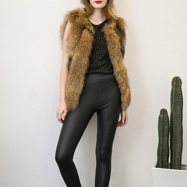 2016 Lady Faux Fur Vest Sleeveless Black Khaki Fur Leather Coat Jackets Fashion Winter Warm Gilet Outerwear Oversized Plus Size