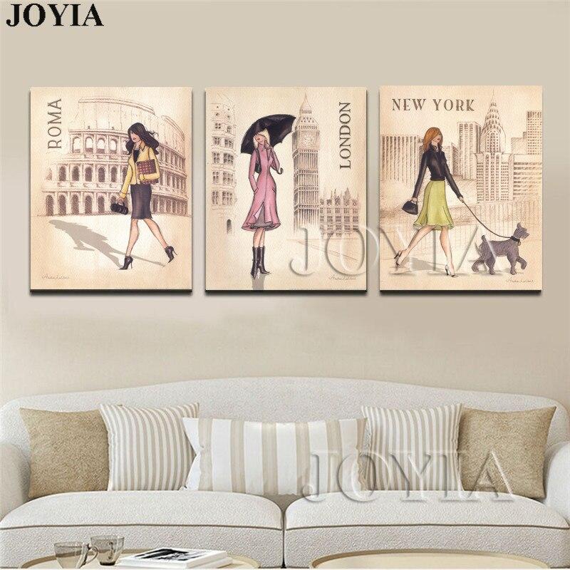 US $5.64 45% OFF|Triptychon Leinwand Kunstdruck Malerei ROMA London Reise  Mädchen Für Mädchen Schlafzimmer Hand Zeichnung Poster Wand Bilder Boards  ...