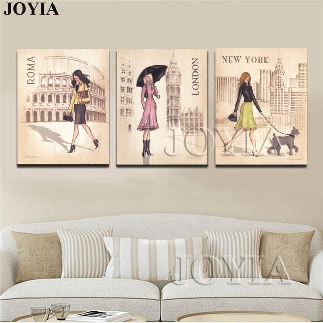Triptychon Leinwand Kunstdruck Malerei ROMA London Reise Mädchen Für ...