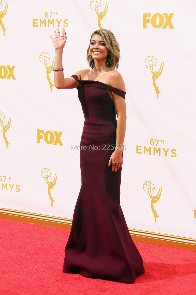 Sarah Hyland Gowns Strapless Short Sleeves See Through Back Full