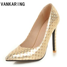VANKARING sexy pointed toe women pumps patent leather slip-on classics office thin heels 10.5 CM party wedding high heel shoes