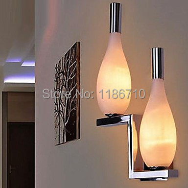 Wall Sconces 2 Light Simple Modern Artistic Wall lamp contains LED bulbs Free shipping cream white iron modern led wall lamp lights with 1 light wall sconces free shipping