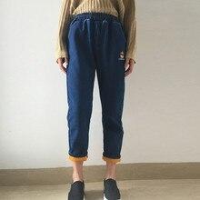 2017 Осень и зима женщины опрятный стиль мультфильм плюс бархат утолщение эластичный пояс высокой талии шаровары джинсы брюки