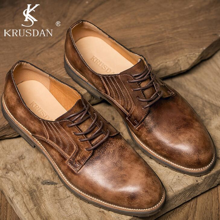 2017 Promotion [krusdan]classic Genuine Leather Retro Tooling Shoes Crazy Cow Martin Low Boots Men Fashion Oxford Popular Flats