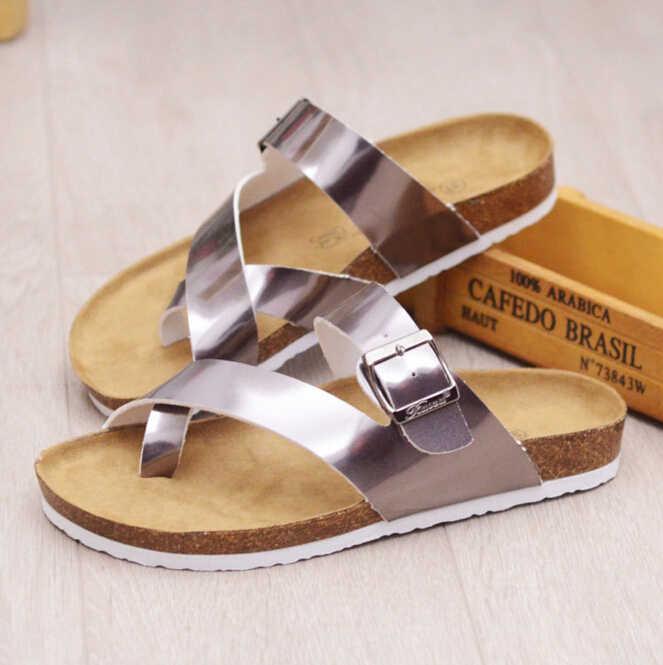 brand designer women cork sandals three belt flip flops fashion buckle cork beach sandals flower printing summer shoes woman