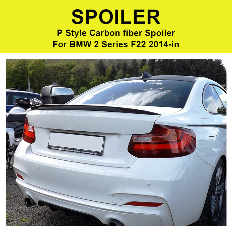 Rear Spoiler Tail P Style For BMW 2 Series F22 220i 228i 235i Carbon Fiber Rear Spoiler Tail Rear Trunk Wing car styling 2014 in in Spoilers Wings from Automobiles Motorcycles