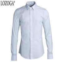 Lozoga New Mens Shirts White Long Sleeve Formal Style Shirt Square Embroidery in Collar Luxury European and American Shirts