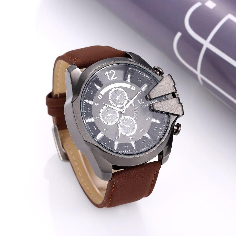 V6 watch men watch top brand military sport watches leather men s watch quartz clock montre