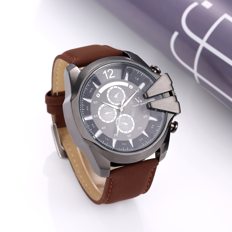 V6 watch men watch top brand sport watches leather military men s watch clock men saat