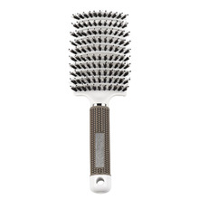 Boar Bristle Hair Brush Curved Hairbrush för tjockt hår - Vit