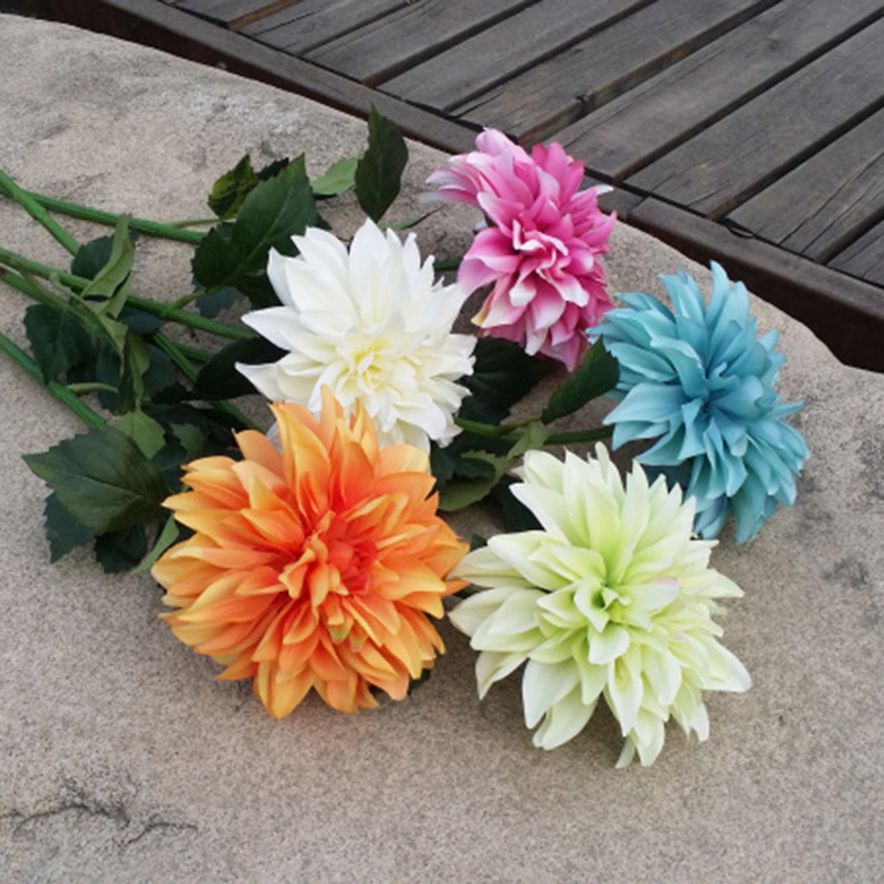 Top quality 1 PC Dahlia pinnata Flower <font><b>Colorfull</b></font> Silk Artificial Flower chrysanthemum Flower Fake Flower <font><b>Home</b></font> Wedding <font><b>Decoration</b></font>