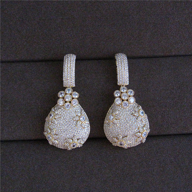 Fashion AAA cubic zirconia Classic retro pouch style big earrings,women's accessaries,E9786