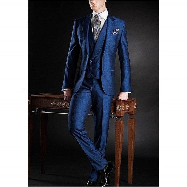 Moda real azul de la boda del hombre guapo trajes de tres piezas traje muesca solapa del padrino de boda esmoquin traje hombres